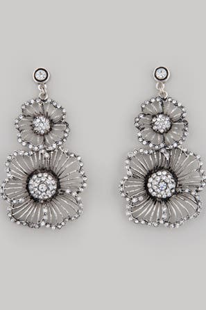 Azaara Silver Flower Earrings